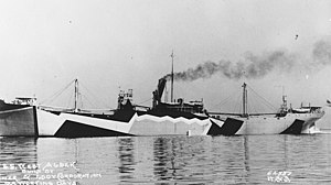 West Alsek painted in dazzle camouflage during sea trials on 4 June 1918