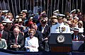 US Navy 030712-N-4616B-001 Capt. Bill Goodwin, Commanding Officer USS Ronald Reagan (CVN 76) addresses a distinguished audience at the commissioning ceremony of the of the Navy's newest Nimitz-class nuclear powered aircraft carrier.jpg