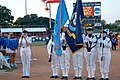 US Navy 050601-N-0869H-001 Navy Color Guard from Strategic Command Wing One, Tinker Air Force Base, post colors as Navy Band Musician 3rd Class Landon Crissup, sings the National Anthem.jpg