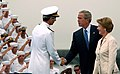 US Navy 050830-N-7130B-074 Commander, Naval Air Forces Pacific, Vice Adm. James Zortman, welcomes President George W. Bush and First Lady Laura Bush to Naval Air Station (NAS) North Island, Calif.jpg