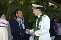 US Navy 051207-N-8157C-053 Chief of Naval Operations Adm. Mike Mullen is greeted by LT. Governor of Hawaii, Duke Aiona during the 64th commemoration of the Dec. 7, 1941 attack on Pearl Harbor, Hawaii.jpg