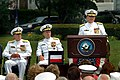 US Navy 060623-N-2383B-490 Rear Adm. Robert F. Burt makes remarks as he takes over as the 24th Chief of Navy Chaplains during a Change of Office Ceremony at the Washington Navy Yard.jpg