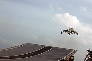Ski-jump (aviation) - Image: US Navy 070904 N 5242D 150 A Sea Harrier takes off from the flight deck of Indian Navy aircraft carrier INS Viraat (R 22) during Malabar 2007