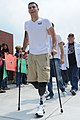 US Navy 110520-N-VE240-203 Matias Ferreria, a wounded Marine, is greeted by residents of Victoria, Texas during Warrior Weekend 2011.jpg