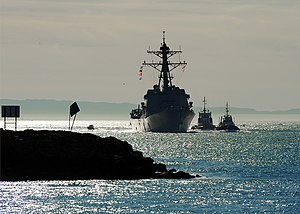 US Navy 120109-N-YM863-034 The Arleigh Burke-class guided-missile destroyer USS Spruance (DDG 111) arrives at Naval Weapons Station Seal Beach to c.jpg