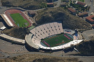 UTEP Miners - Aerial view of Kidd Field (upper left) and Sun Bowl Stadium (lower right).