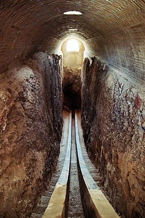 Ulugh Beg Observatory - The trench. In Ulugh Beg's time, these walls were lined with polished marble.