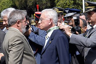 Roberto Mangabeira Unger - Unger receiving a medal of honor on Army Day 2008 from President Lula for his work in formulating Brazil's National Defense Strategy.