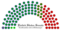 A graph using colored dots to show 57 Democrats, 9 Republicans, and 2 independents voted to confirm Sotomayor, while 31 Republicans vote against, and 1 Democrat did not vote.