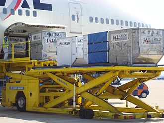 Unit load device - Unloading LD3 containers from a Boeing 747 at Zagreb Airport