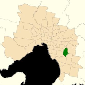 Electoral district of Mulgrave (Victoria) - Location of Mulgrave (dark green) in Greater Melbourne