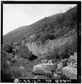 VIEW OF CONCRETE RETAINING WALL AND BUILDING RUINS, LOOKING EAST - Winter Quarters Mine, Scofield, Carbon County, UT HAER UTAH,4-SCOF,2-10.tif