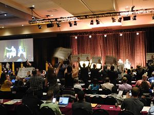 Libertarian Party presidential debates and forums, 2016 - Image: VP debate Libertarian Convention (27230103801)
