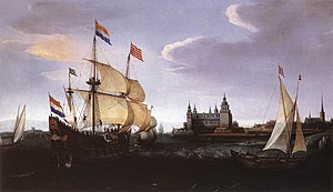 Hendrick Cornelisz Vroom - Arrival of a Dutch Three master at Kronborg Castle, Helsingør