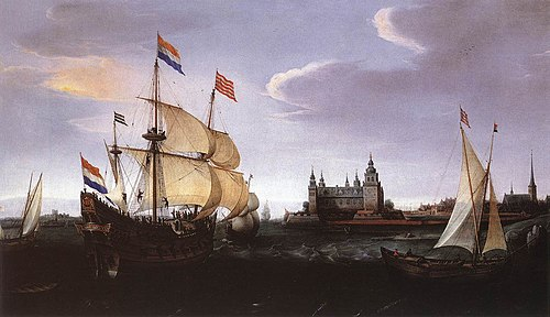 VROOM Hendrick Cornelisz Arrival of a Dutch Three master at Schloss Kronberg.jpg