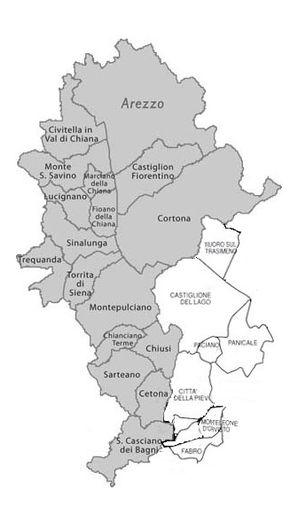 Suddivisione geografica della Valdichiana, in cui i territori in grigio fanno parte della Toscana e quelli in bianco dell'Umbria