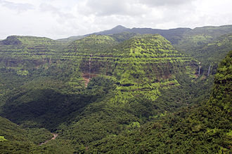 Western Ghats - View from Varandha Pass Mahad showing the numerous waterfalls