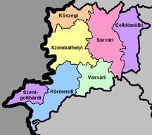 Vas County-Regional structure-Vas districts