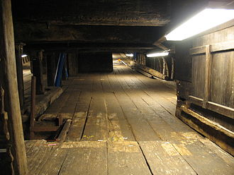 Orlop deck - The orlop of the Swedish 17th century warship Vasa looking toward the bow.
