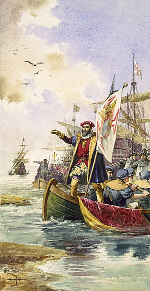 Colonial India - Vasco da Gama lands at Calicut, 20 May 1498.