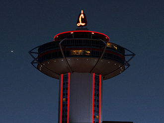 The Landmark Hotel and Casino - A 1995 photo of the tower, modified to depict its operational appearance in the 1980s