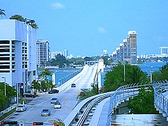 Venetian Causeway - View of the Venetian Causeway from Downtown Miami, east toward Miami Beach.