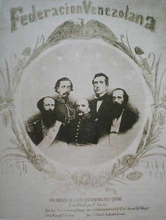 Guillermo Tell Villegas - Poster allusive to the Venezuelan provisional government in the 1860s, after the Triumph of Federation. Villegas is on the far right.