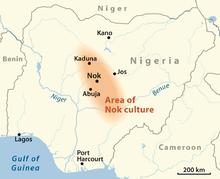aire colorée ellipsoïde, orientée nord-ouest sud-est, couvrant une partie du centre de la carte du Nigeria