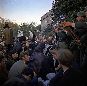 """Flower Power (photograph) - Young protesters at """"March on The Pentagon"""" on 21 October 1967."""