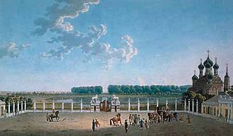 Ostankino Palace - View south from the windows of the Ostankino Palace in the early 18th century