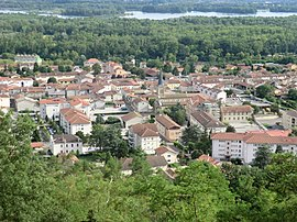 View of Miribel from the top of Vierge du Mas Rillier.JPG