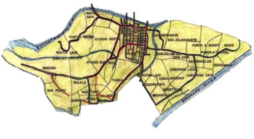 The Barangay map of the City of Vigan