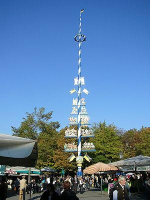 Maypole - A maypole at the Viktualienmarkt in Munich, Germany