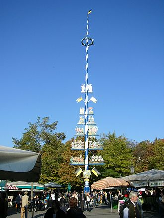 Maypole - A maypole at the Viktualienmarkt in Munich, Germany