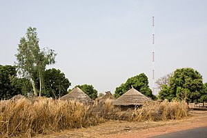 Mobile telephony in Africa - GSM antenna in a rural village (Gambia)