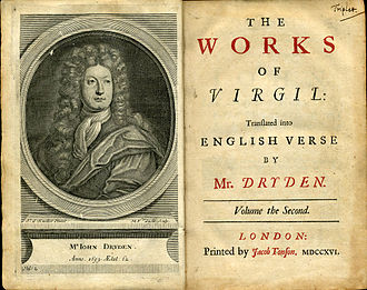 John Dryden - Frontispiece and title page, vol. II, 1716 edition, Works of Virgil translated by Dryden