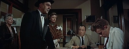 Virginia Brissac, Jim Backus, Ann Doran, Edward Platt and James Dean in Rebel Without a Cause trailer.jpg