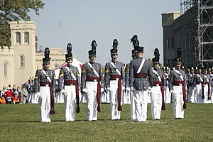 Virginia Military Institute - The Regimental Commander gives commands to the Corps of Cadets during a parade in coatee.