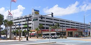 The Volusia County Parking Garage in Daytona Beach provides a place for visitors to park and walk around.