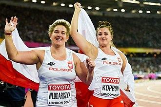 Anita Włodarczyk - Włodarczyk (on the left) celebrating her gold medal of 2017 World Championships with team mate and bronze medalist Malwina Kopron.