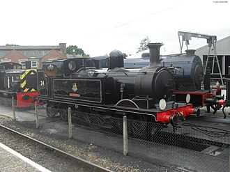 LSWR O2 Class W24 Calbourne - W24 Calbourne, painted in BR lined black, at Havenstreet, Isle of Wight Steam Railway