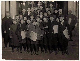 The Forward - Newsboys for the Forward wait for their copies in the early morning hours in March 1913