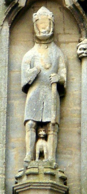 Waltheof, Earl of Northumbria - statue traditionally identified as Waltheof, at Croyland Abbey, west front of ruined nave, 4th tier