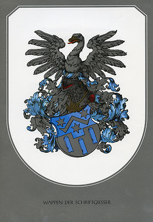 "Type foundry - The German coat of arms for a type-founders' guild (or ""Schriftgießer"" in German)"