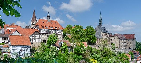 Panoramic view over medieval town of Warburg, picture taken at Fügeler Kanone