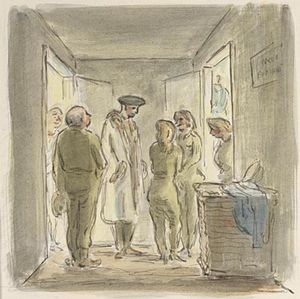 Edward Ardizzone - Visit to the Ensa Girls in their dressing room at the Lucera Opera house, 13 November 1943