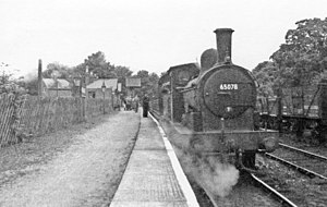 Wearhead - Wearhead station and train for Bishop Auckland on Last Day, 1953