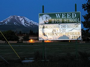 Weed, California - Weed High School billboard.
