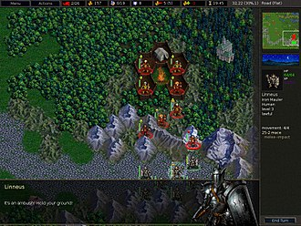 Turn-based tactics - Individual units are commanded to perform military tactics such as an ambush. Screenshot is from Battle for Wesnoth.