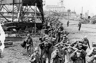 Battle of Westerplatte - Polish soldiers being taken into captivity after the capitulation of Westerplatte. Danzig, September 7, 1939